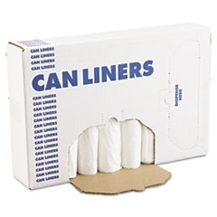EH-Grade Can Liners, 24 x 32, 12-16gal, .4mil, White, 25/Roll, 20 Rolls/CT