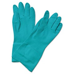 Flock-Lined Nitrile Gloves, Medium, Green, Dozen
