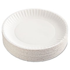Ajm Packaging Corporationgold Label Coated Paper Plates, 9  Dia, White, 100/Pack, 10 Packs/Carton