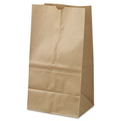 #25 Squat Paper Grocery Bag, 40lb Kraft, Standard 8 1/4 x6 1/8 x15 7/8, 500 bags