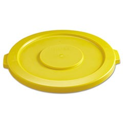 "Round Flat Top Lid, for 32 gal Round BRUTE Containers, 22.25"" diameter, Yellow"