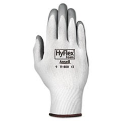 HyFlex Foam Gloves, White/Gray, Size 9, 12 Pairs