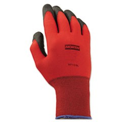 NorthFlex Red Foamed PVC Gloves, Red/Black, Size 9/L, 12 Pairs