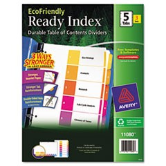 Customizable TOC Ready Index Multicolor Dividers, 5-Tab, Letter, 3 Sets