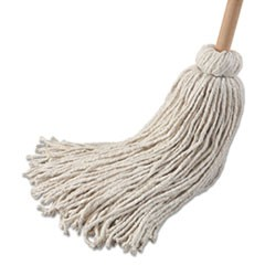 "Deck Mop; 54"" Wooden Handle, 32 oz Cotton Fiber Head, 6/Pack"