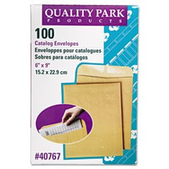 Catalog Envelope, #1, Cheese Blade Flap, Gummed Closure, 6 x 9, Brown Kraft, 100/Box