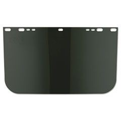 "Face Shield Visor, 15 1/2"" x 9"", Dark Green, Unbound, Plastic"