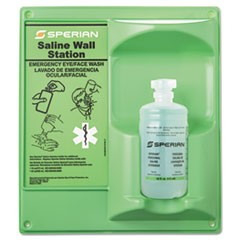 Saline Eye Wash Wall Station, 16oz Bottle, 1 Bottle/Station