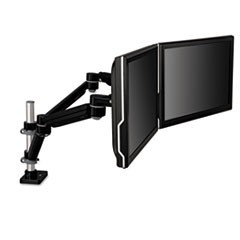 Easy-Adjust Dual Monitor Arm, 4.5w x 25.5d x 27h, Black/Gray