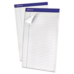 Recycled Writing Pads, Wide/Legal Rule, 8.5 x 14, White, 50 Sheets, Dozen
