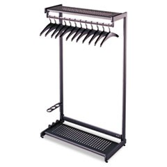 Single-Side, Garment Rack w/Two Shelves, Eight Hangers, Steel, 24