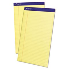 Perforated Writing Pads, Wide/Legal Rule, 8.5 x 14, Canary, 50 Sheets, Dozen