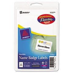 Flexible Self-Adhesive Laser/Inkjet Badge Labels, 2 11/32 x 3 3/8, WE, 40/PK