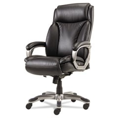 Alera Veon Series Executive High-Back Leather Chair, Supports up to 275 lbs., Black Seat/Black Back, Graphite Base