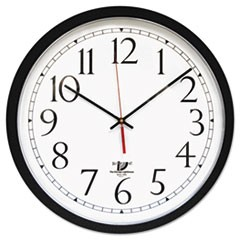 "SelfSet Wall Clock, 16-1/2"", Black"