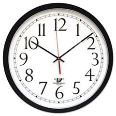 "SelfSet Wall Clock, 14-1/2"", Black"