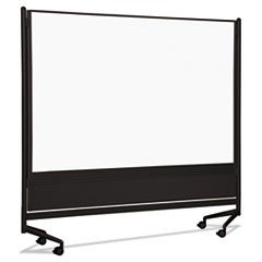 D.O.C. Mobile Double-Sided Marker Board Divider, 72 x 72, Black