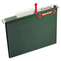 Slide & Lift Tab Hanging File Folders, Letter, 1/3 Cut, Green, 24/Pack