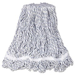 "Web Foot Finish Mop, White, Med, Cotton/Synthetic, 1"". White Headband, 6/Carton"