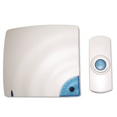 Wireless Doorbell, Battery Operated, 1-3/8w x 3/4d x 3-1/2h, Bone