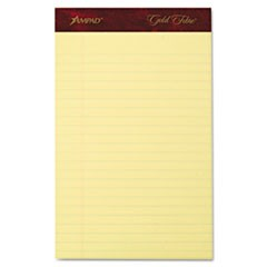 Gold Fibre Writing Pads, Narrow Rule, 5 x 8, Canary, 50 Sheets, 4/Pack