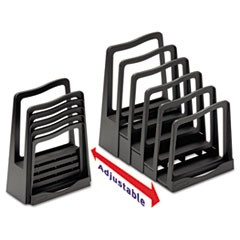 "Adjustable File Rack, 5 Sections, Letter Size Files, 8"" x 11.5"" x 10.5"", Black"