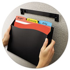Cubicle Wall File Pocket, 12 1/2 x 1 3/8 x 9 1/2, Black