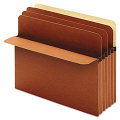 Divider Pockets, 2 Dividers, Redrope, 4 Pockets, Straight Cut, Letter, Brown