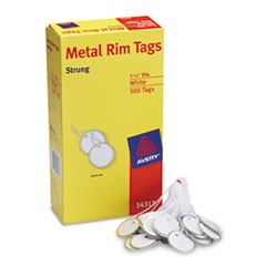 Heavyweight Stock Metal Rim Tags,  1 1/4 dia, White, 500/Box