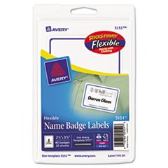 Flexible Adhesive Name Badge Labels, 2 1/3 x 3 3/8, White/Blue Border, 40/PK