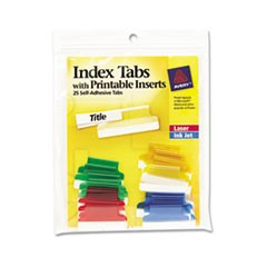"Insertable Index Tabs with Printable Inserts, 1/5-Cut Tabs, Assorted Colors, 1"" Wide, 25/Pack"