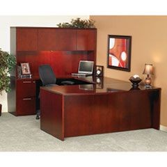 Luminary Series Wood Veneer Bow Front Desk Shell, 72w x 42d x 29h, Cherry