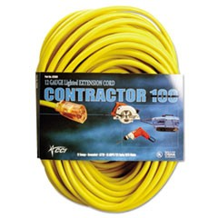 Vinyl Outdoor Extension Cord, 50 Ft, 15 Amp, Yellow