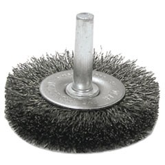 "Crimped-Wire Radial-Wheel Brush, 3"" dia, 13/16"" Trim, .014 Wire, 1/4"" Arbor"