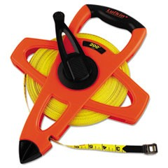 "Engineer Hi-Viz Fiberglass Measuring Tape, 1/2""x200ft, Yellow Blade, Orange Case"