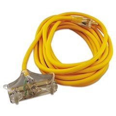 Polar/Solar Outdoor Extension Cord, 25ft, Three-Outlets, Yellow