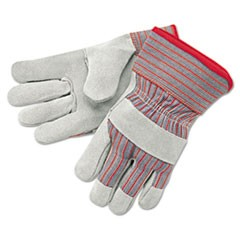 Economy Grade Leather Gloves, White/Red, X-Large, 12 Pairs