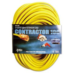 Vinyl Extension Cord, SJTW-A, 100ft Long, 10/0 AWG, Yellow