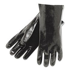 "Single Dipped PVC Gloves, Smooth, Interlock Lined, 18"" Long, Large, BK, 12 Pair"