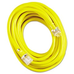 Vinyl Extension Cord, SJTW-A, 50ft Long, 10/3 AWG, Yellow