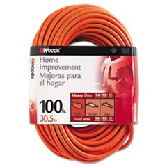 Outdoor Round Vinyl Extension Cord, 14/3 AWG, 100ft, Orange