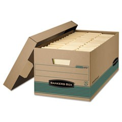 Bankers Box Stor/File Medium-Duty Storage Boxes, Legal Files, 15.88  X 25.38  X 10.25 , Kraft/Green, 12/Carton