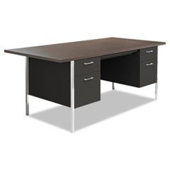Double Pedestal Steel Desk, Metal Desk, 72w x 36d x 29.5h, Mocha/Black