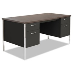 Double Pedestal Steel Desk, Metal Desk, 60w x 30d x 29-1/2h, Mocha/Black