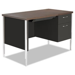Single Pedestal Steel Desk, Metal Desk, 45-1/4w x 24d x 29-1/2h, Mocha/Black