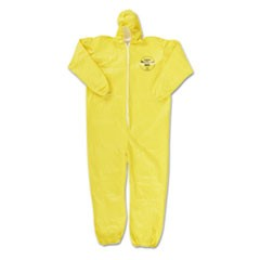 Tychem QC Coveralls, Zip Closure, Hood-Elastic Wrists/Ankles, Yellow, 2X-Large