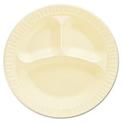 "Laminated Foam Dinnerware, Plates, 10 1/4"", Honey, 3 Comp, 125/Pk, 4 Pks/Ctn"