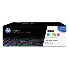 HP 304A, (CF340A) 3-pack Cyan/Magenta/Yellow Original LaserJet Toner Cartridges