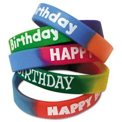 Two-Toned Happy Birthday Wristbands, 5 Designs, Assorted Colors, 10/Pack