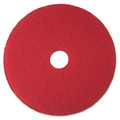 "Low-Speed Buffer Floor Pads 5100, 16"" Diameter, Red, 5/Carton"